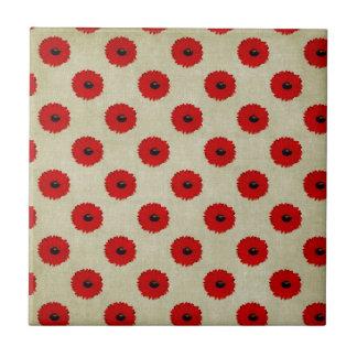 Rustic Red  Flowers Pattern Tiles