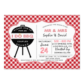 Rustic Red Gingham I DO BBQ Couples Shower Invite