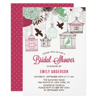 Rustic Red & Green Bird Cages Floral Bridal Shower Card