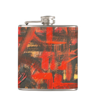 Rustic Red-Hand Painted Abstract Brushstrokes Hip Flask