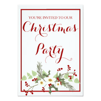 Rustic Red Holly Christmas Party Invitation