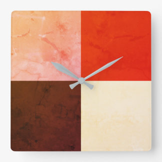 Rustic Red Pink Brown Ivory Square Wall Clock