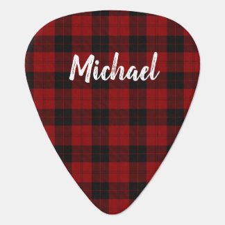 Rustic Red Plaid Brush Handwritten Script Guitar Pick