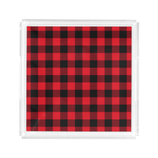Rustic Red Plaid Pattern Holiday Acrylic Tray