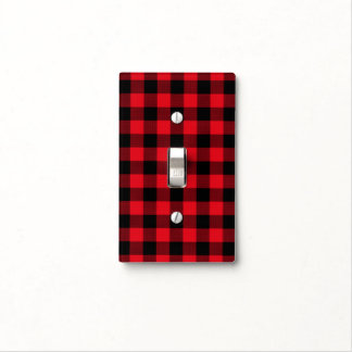 Rustic Red Plaid Pattern Holiday Light Switch Cover