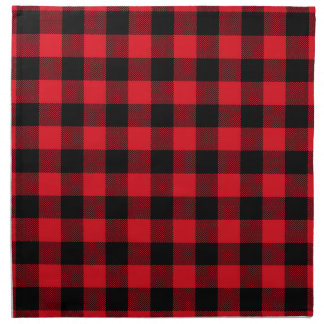 Rustic Red Plaid Pattern Holiday Napkin