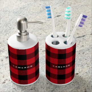 Rustic Red Plaid Pattern Holiday Personalized Bathroom Set
