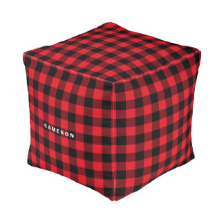 Rustic Red Plaid Pattern Holiday Personalized Pouf