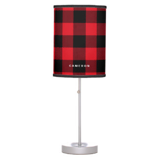 Rustic Red Plaid Pattern Holiday Personalized Table Lamp
