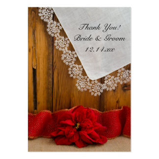 Rustic Red Poinsettia Winter Wedding Favor Tags Large Business Card