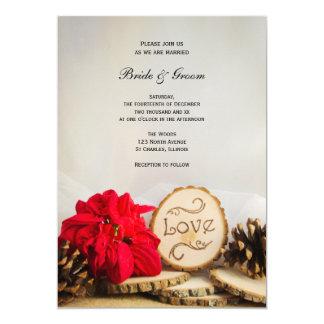 Rustic Red Poinsettia Woodland Winter Wedding Card