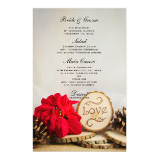 Rustic Red Poinsettia Woodland Winter Wedding Menu Stationery Paper