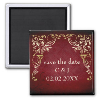 rustic red regal save the date magnets fridge magnets