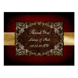 rustic red regal wedding Thank You Postcards