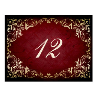 rustic red regal winter wedding table seating card post card