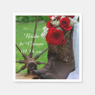 Rustic Red Roses and Cowboy Boots Country Wedding Paper Napkin