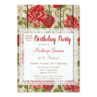 Rustic Red Roses Birthday Invitation Lace Wood