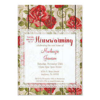 Rustic Red Roses Housewarming Invitation Lace Wood