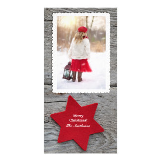 Rustic Red Star Vertical Photo Holiday Card Photo Greeting Card