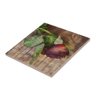 Rustic Red Textured Grunge Rose On Wood Tile