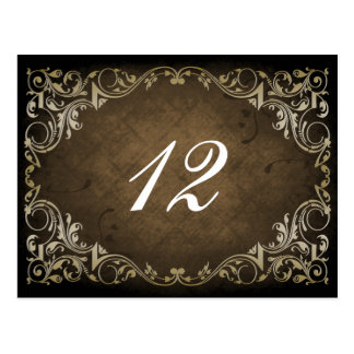 Rustic Regal Ornamental Brown And Gold Wedding Postcard
