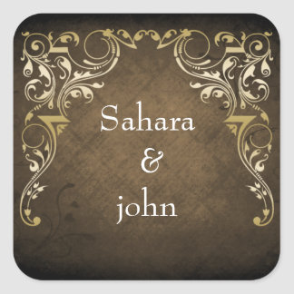 Rustic Regal Ornamental Brown And Gold Wedding Square Sticker