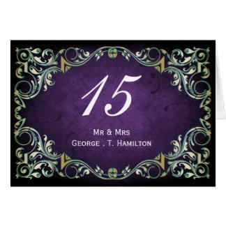 Rustic Regal Ornamental Purple And Gold Wedding Card