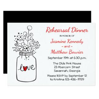 Rustic Rehearsal Dinner Mason Jar Black Wedding Card