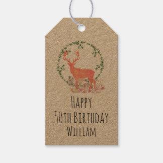 Rustic Reindeer Boho Watercolor Birthday Gift Tags