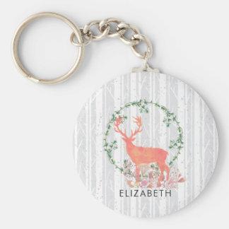 Rustic Reindeer Boho Watercolor Custom Keychain