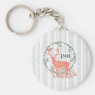 Rustic Reindeer Boho Watercolor Custom Monogram Basic Round Button Keychain