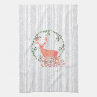 Rustic Reindeer Boho Watercolor Kitchen Towel