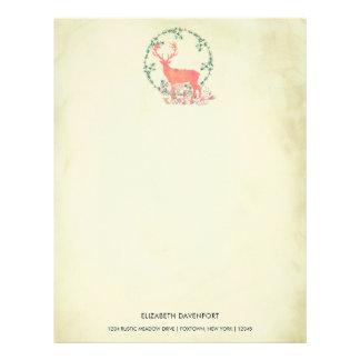 Rustic Reindeer Boho Watercolor Personalized Letterhead