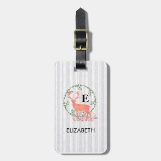 Rustic Reindeer Boho Watercolor Personalized Luggage Tag