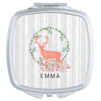 Rustic Reindeer Boho Watercolor Personalized Mirror For Makeup