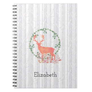 Rustic Reindeer Boho Watercolor Personalized Notebooks