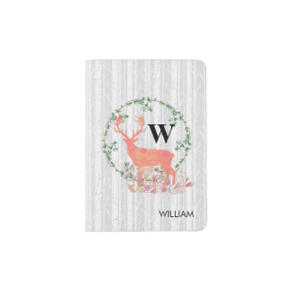 Rustic Reindeer Boho Watercolor Personalized Passport Holder