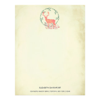Rustic Reindeer Boho Watercolor Personalized Personalized Letterhead