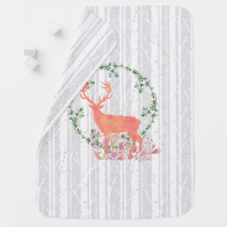 Rustic Reindeer Boho Watercolor Receiving Blankets