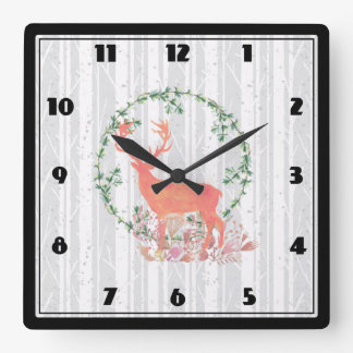 Rustic Reindeer Boho Watercolor Square Wall Clock