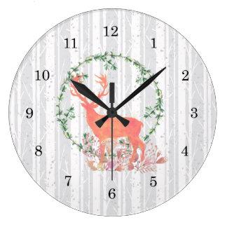 Rustic Reindeer Boho Watercolor Wall Clocks