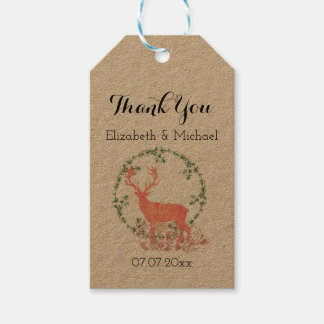 Rustic Reindeer Boho Watercolor Wedding Thanks Gift Tags