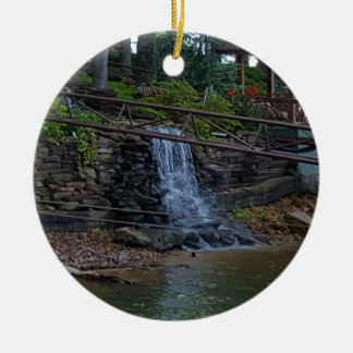 Rustic Rocky Waterfall On the Shoreline of Lake Round Ceramic Ornament