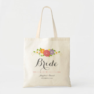 Rustic Romantic Calligraphy & Pastel Flowers Bride Tote Bag