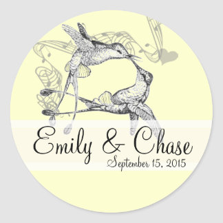 Rustic Romantic Hummingbird Kiss Love BirdWedding Classic Round Sticker