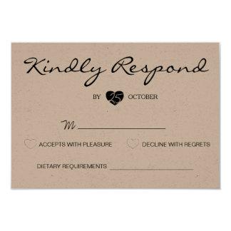 "Rustic Romantic Suite Wedding RSVP Card 3.5"" X 5"" Invitation Card"