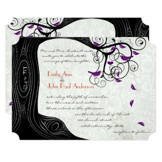 Rustic Romantic Tree Purple Birds Wedding Card