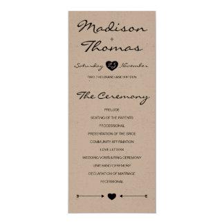 Rustic Romantic Wedding Program on kraft paper