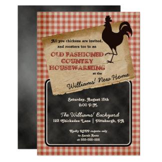 Rustic Rooster Backyard Cookout Housewarming Card