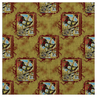 Rustic Rooster Linen Fabric